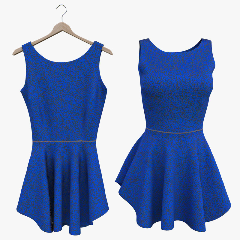 blue fitted dress model