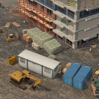 3D model construction building pack scene