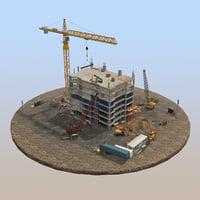 3D model construction building pack scene