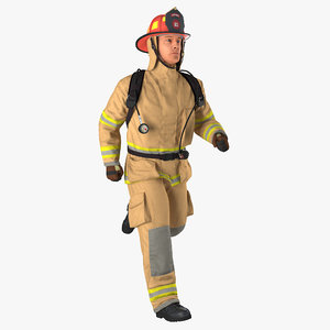 3D firefighter rigged model