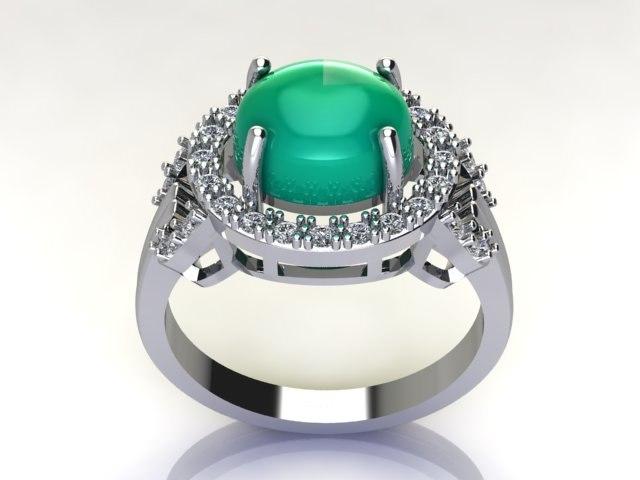 3D green ring diamond model