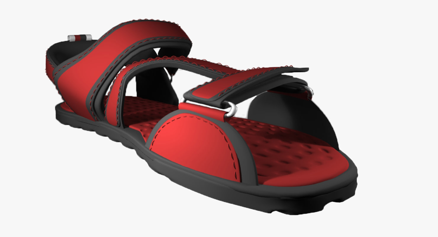 3D red sandals model