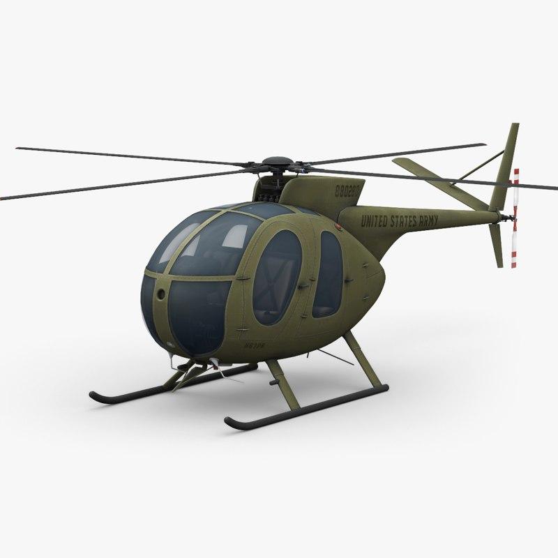 3D model hughes oh-6 cayuse