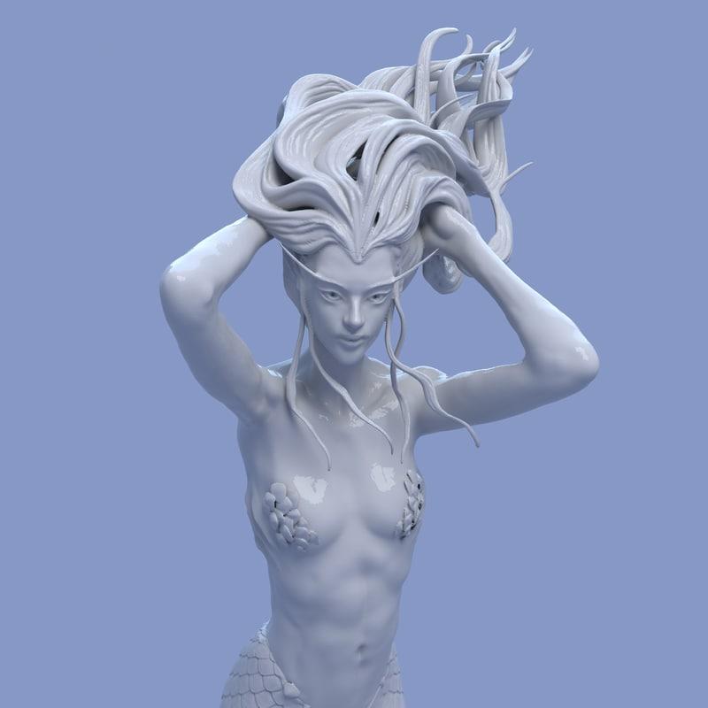 3D mermaid sculpture