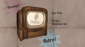 3D old timey 1940s tv