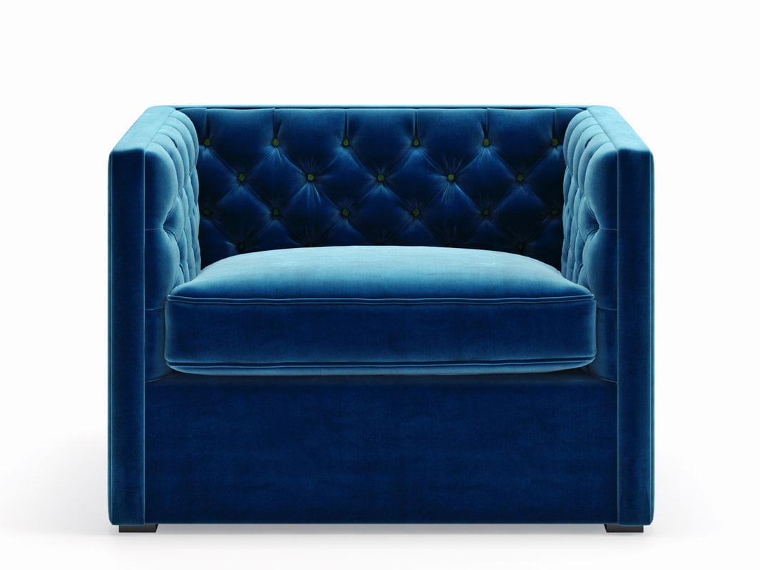 mercer tufted club chair 3D model