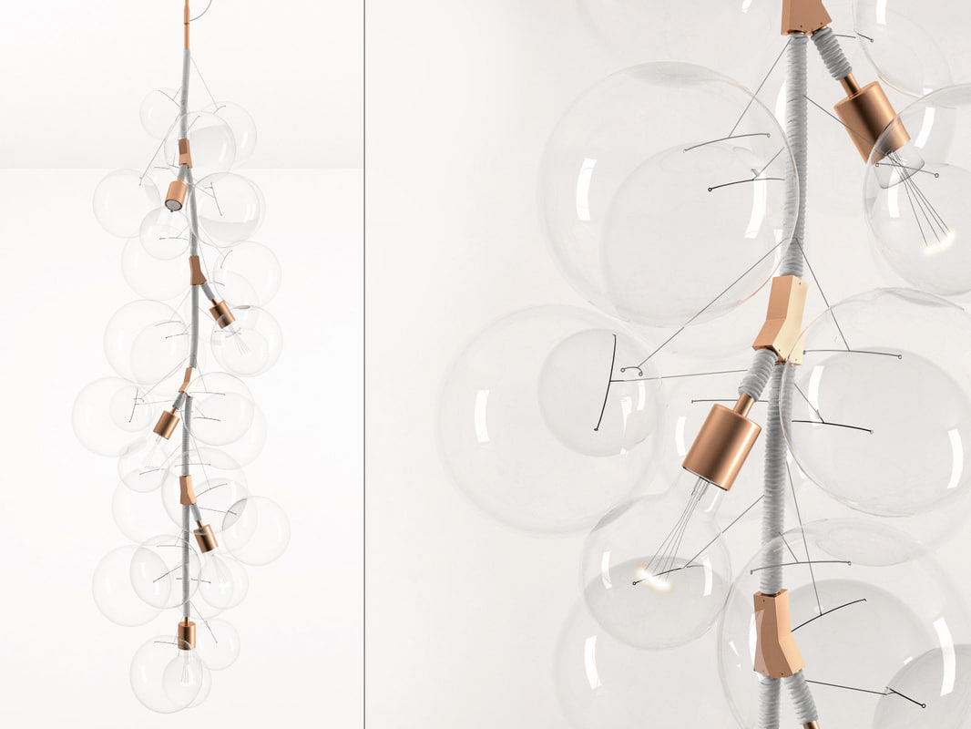 3D x-tall bubble chandelier model