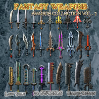 swords weapons 3D
