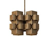 3D cubist geometric chandelier n