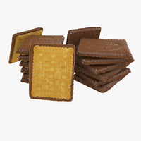 Realistic Chocolate Square Biscuit Coating