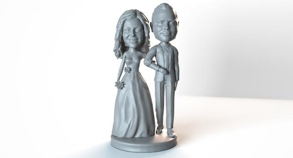 3D bobbleheads bride groom sculpt