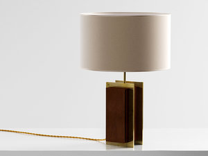 brass strapped table lamp 3D model