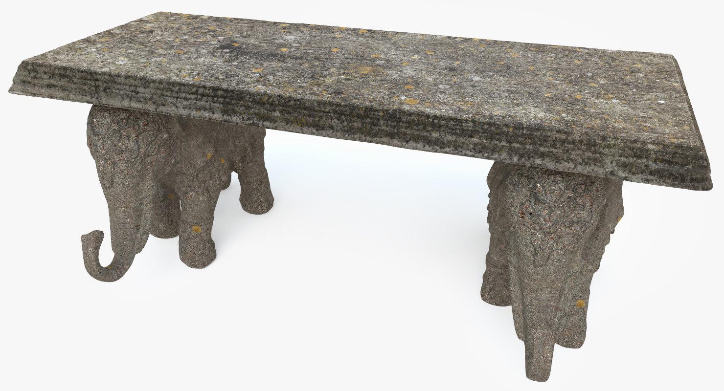 3D model stone bench