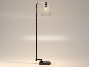3D seeded glass industrial floor lamp model