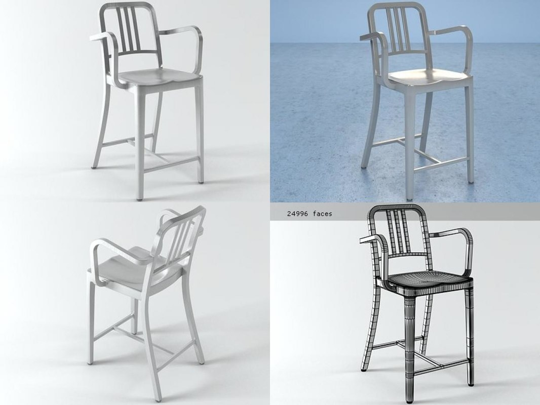3D navy counter stool arms