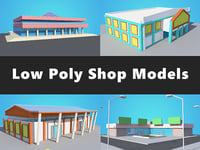 4 Shop / Mall Model Collection, Low Poly