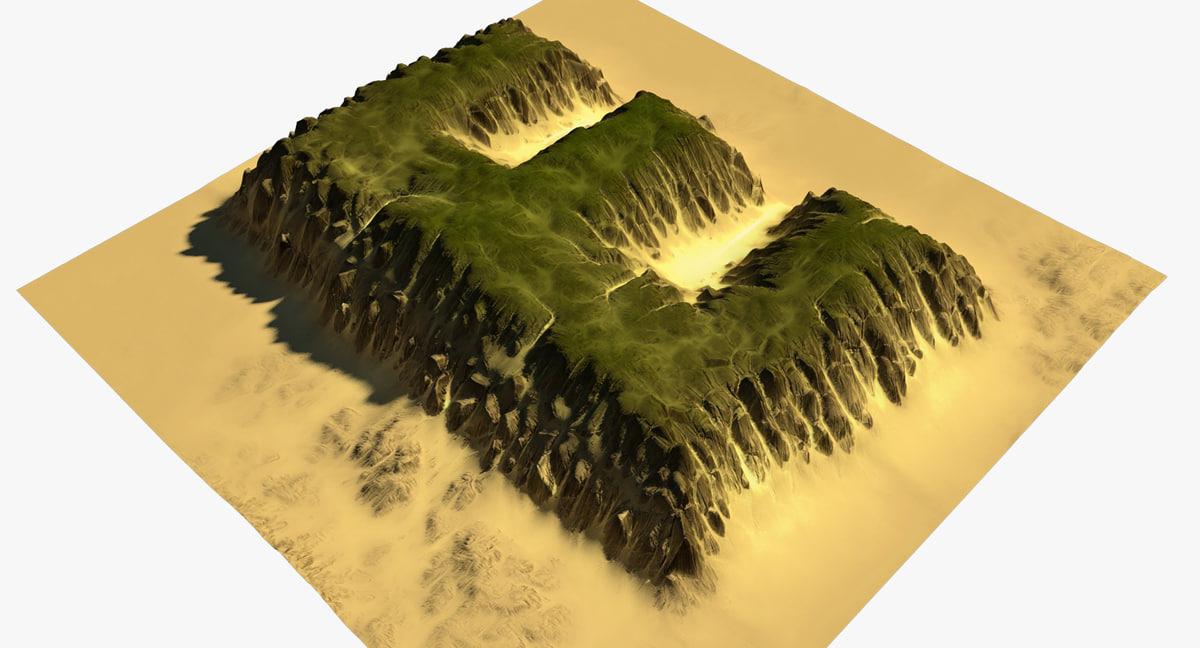 alphabet terrain e 3D