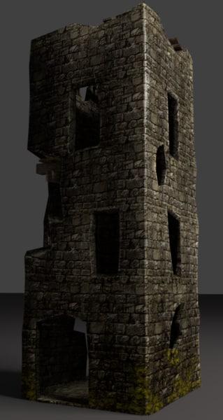 3D old castle tower model