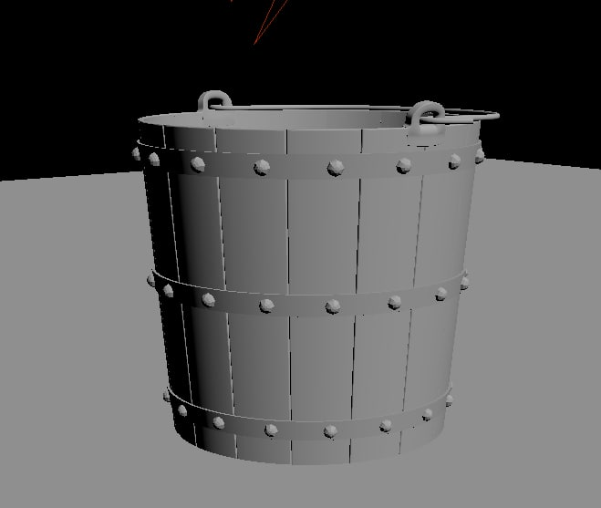 old wooden bucket model