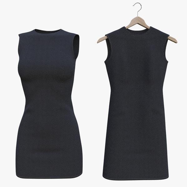 3D model black dress