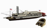 historic paddle river boat 3D model