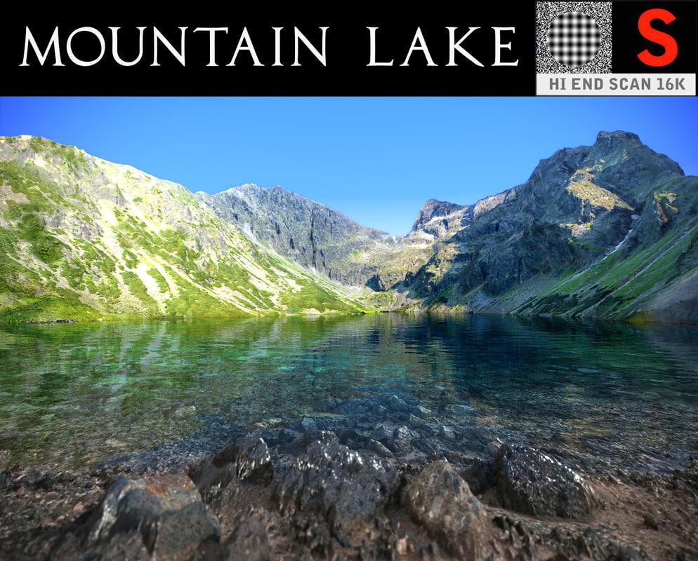 3D mountain lake photorealistic