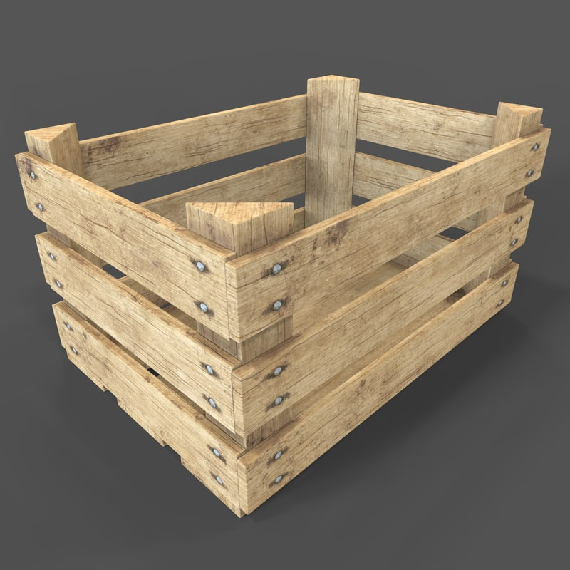 realistic wooden fruit crate 3D model