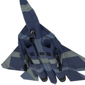 sukhoi pakfa fighter 3D model