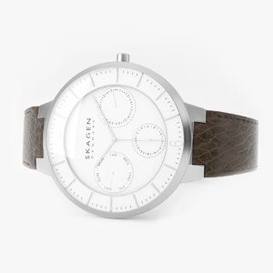 3D skagen stainless steel brown leather