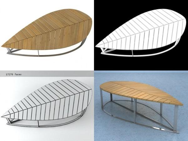 3D leaf bench model