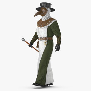 plague doctor walking pose 3D model