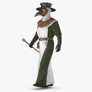 plague doctor walking pose 3D model