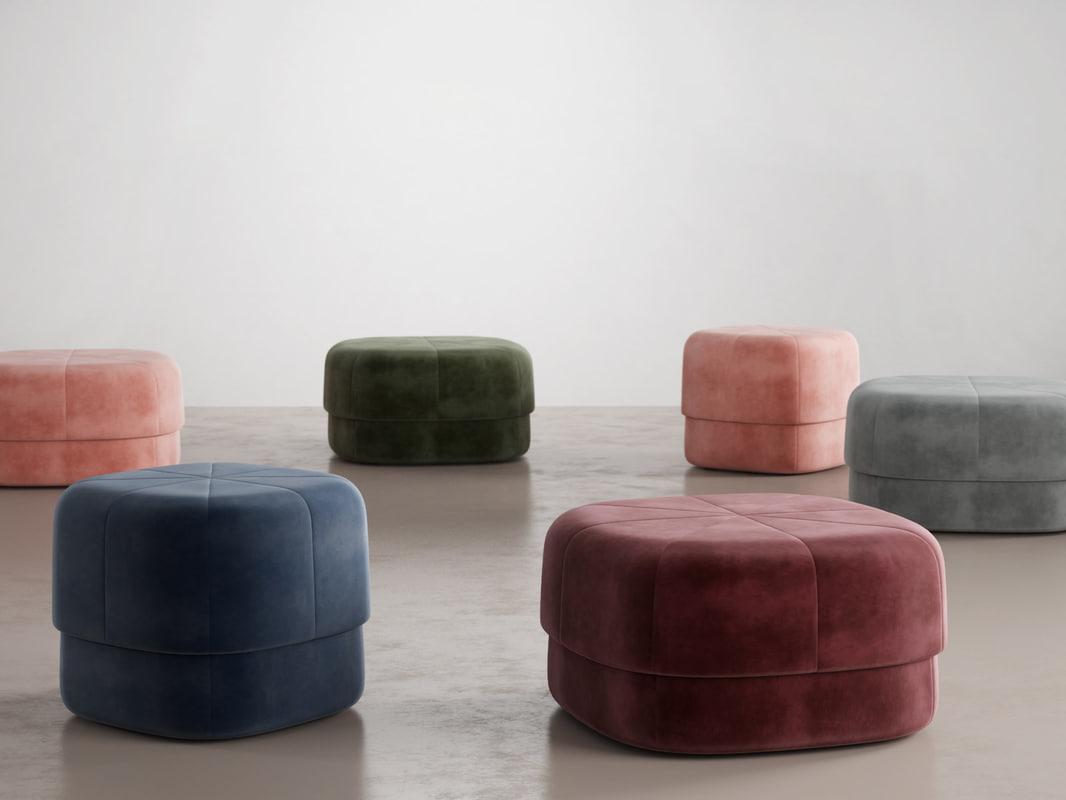 3D model circus poufs