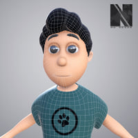 stylized brother sister character girl 3D model