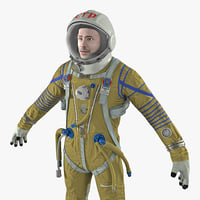 3D model astronaut wearing space suit