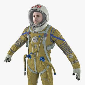 3D model astronaut wearing space suit