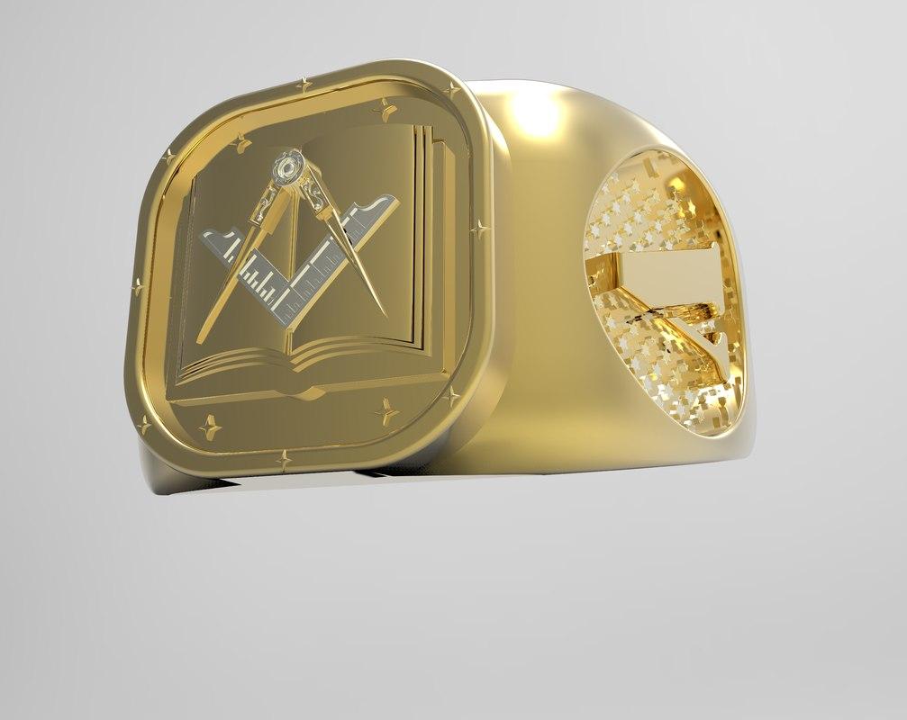 gold mason ring 3D