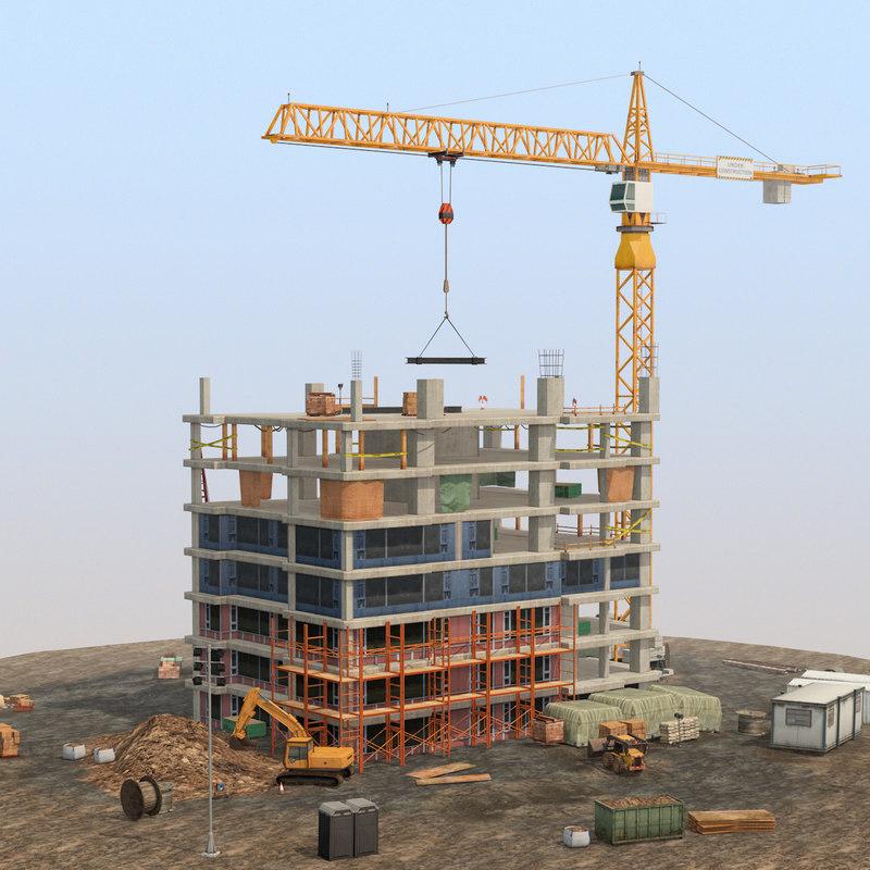 3D construction building pack scene