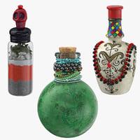 3D voodoo spirit bottles model