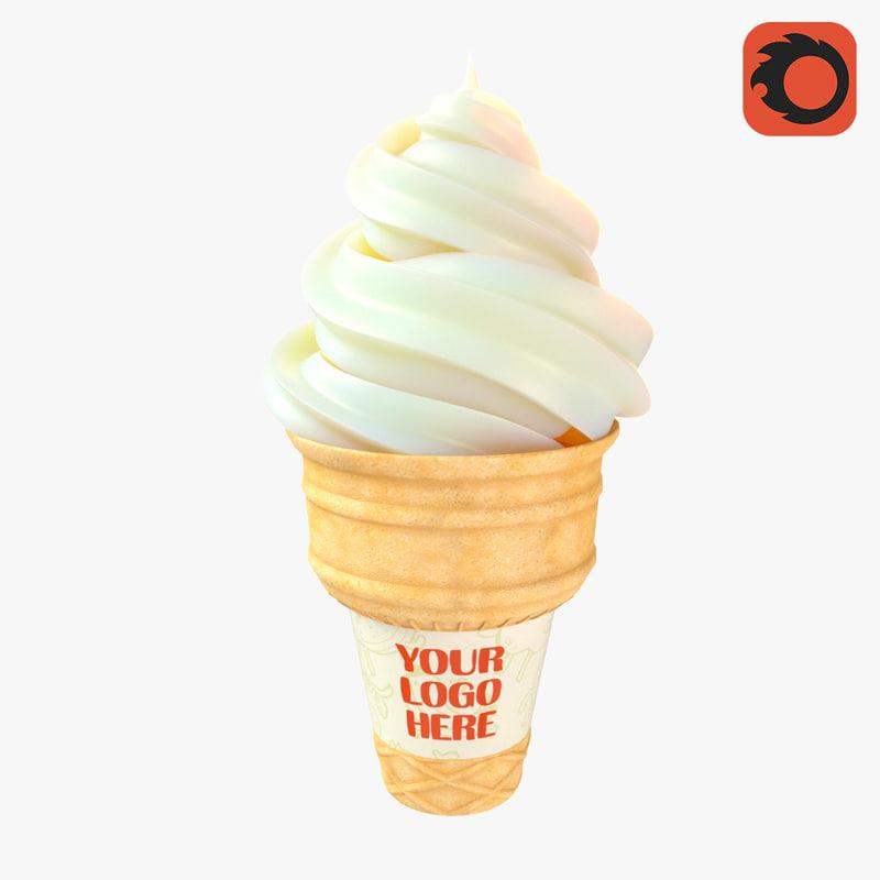 3D ice cream wafer model