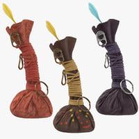 voodoo gris-gris bags 3D model