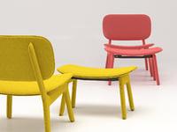 3D model felt easy chair
