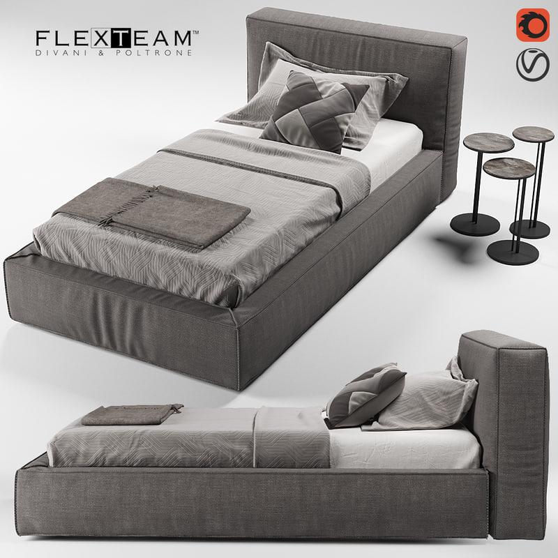 flexteam slim bed single 3D model