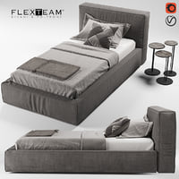 flexteam slim bed single 3D model