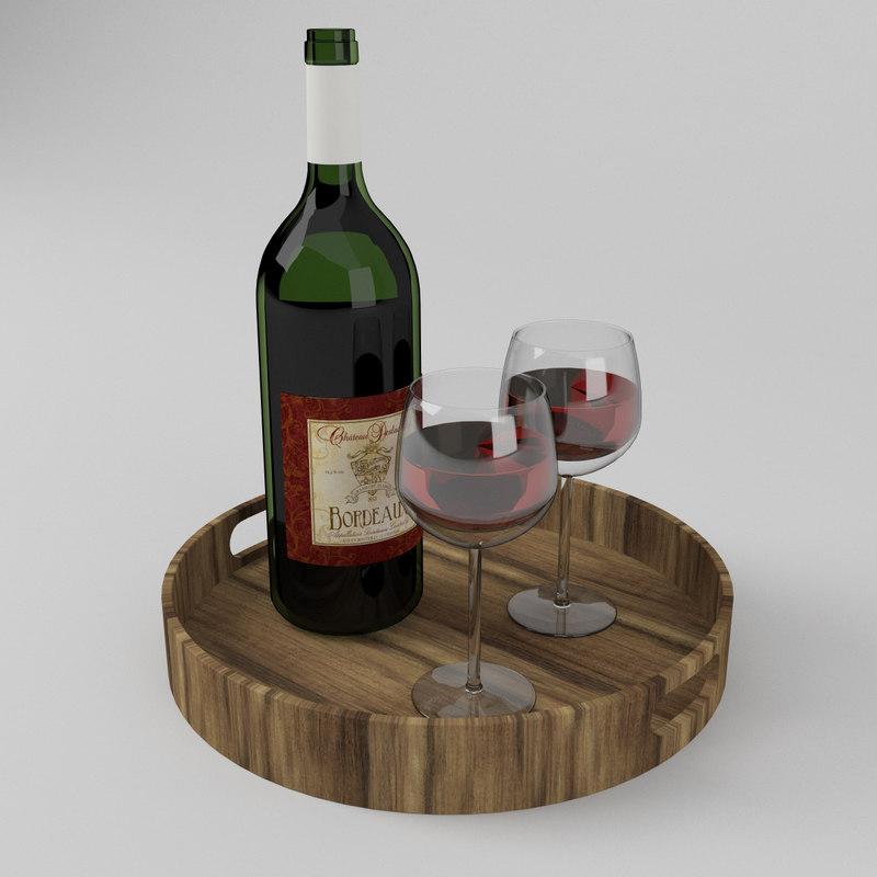 bottle red wine glasses 3D model