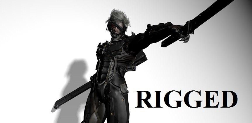 cyborg ninja male rigged 3D