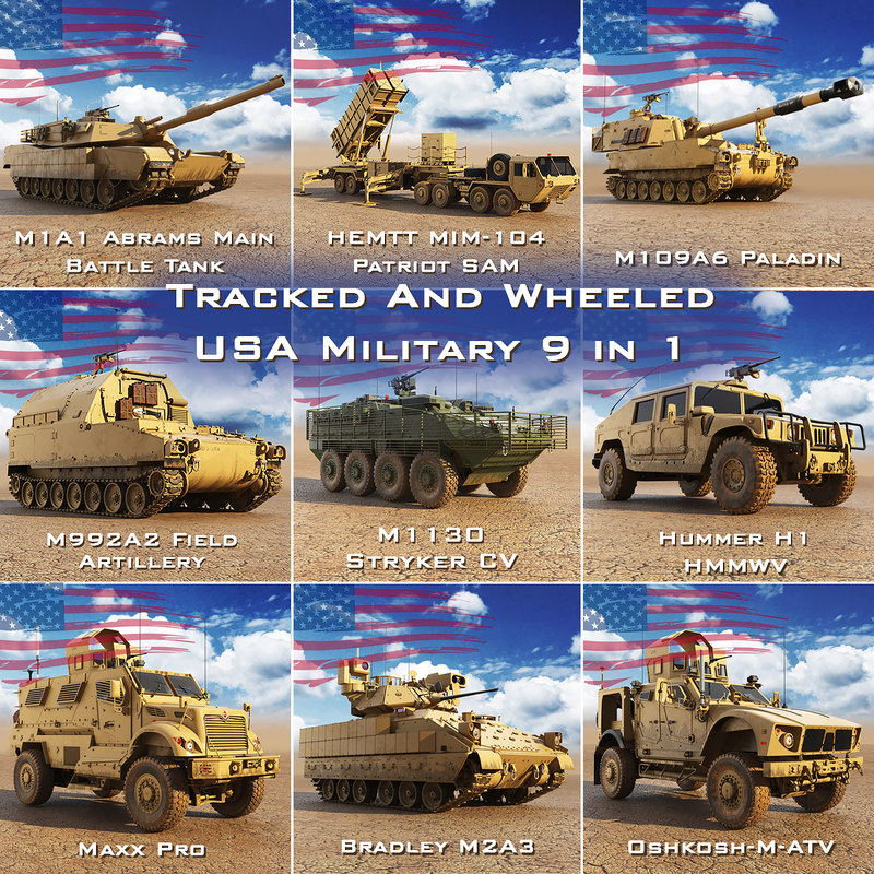 tracked wheeled usa military model