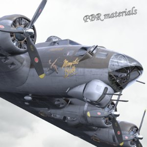 3D pbr b-17 flying fortress