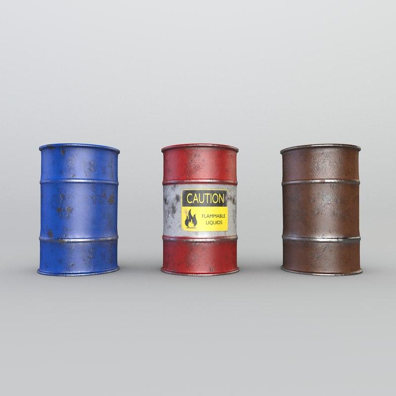 3D barrels ready pbr games model