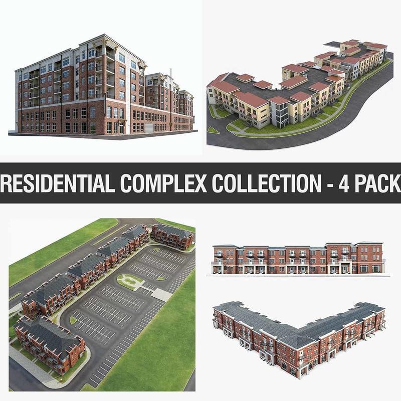 3D residential apartment buildings